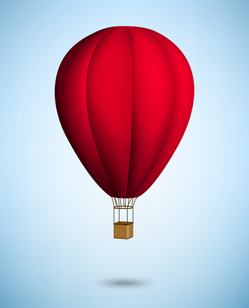 aerostat: hot air balloon on blue sky background. Vector.