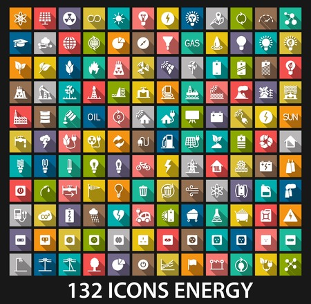 industrial template: Energy and resource icon set. Vector illustration