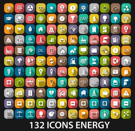 Energie en hulpbronnen icon set. Vector illustratie
