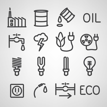 solar battery: Energy and resource icon set. Vector illustration