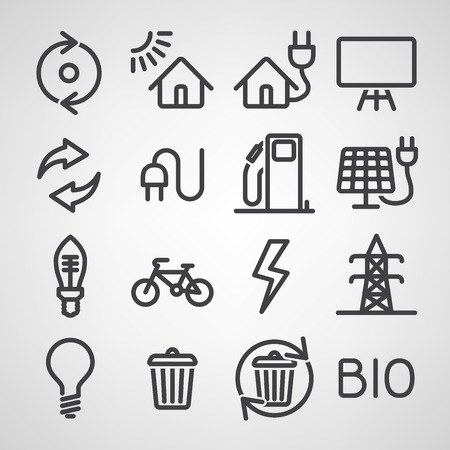 switch plug: Energy and resource icon set. Vector illustration