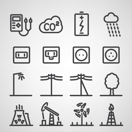electrical outlet: Energy and resource icon set. Vector illustration