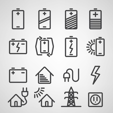 Energy and resource icon set. Vector illustration Vector
