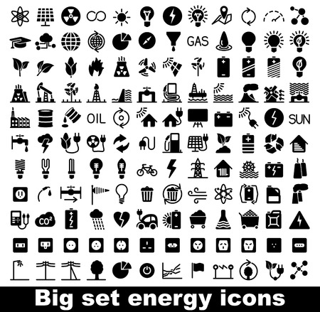 outlet: Energy and resource icon set. Vector illustration