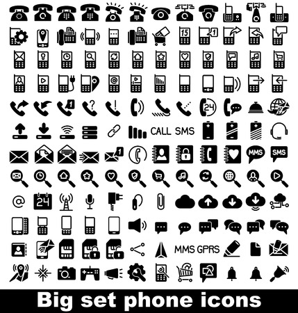 old cell phone: Set phone icon on white background. Vector.