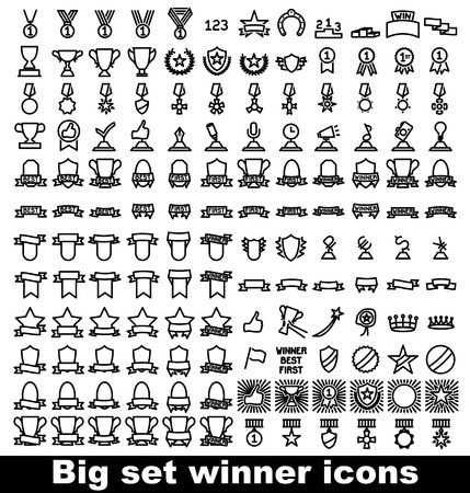 trophy and awards icons set. Vector illustration. Vectores