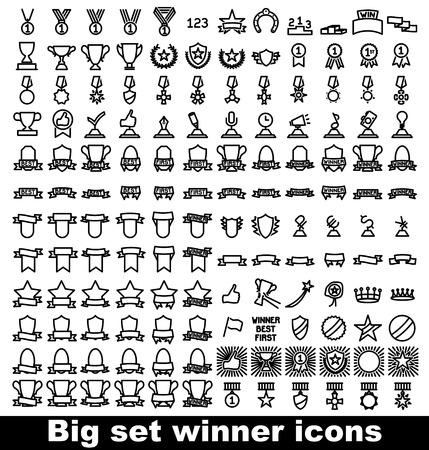 trophy and awards icons set. Vector illustration. Illustration