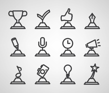 wining: trophy and awards icons set. Vector illustration. Illustration