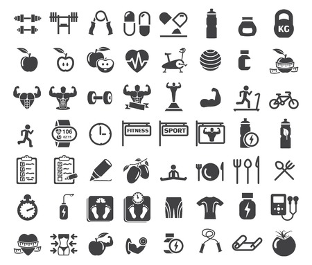 fitness center: Health and Fitness icons on white background
