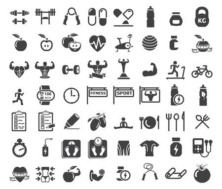 pesas: Salud y Fitness iconos en el fondo blanco