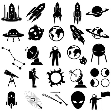 astronautics: Space icon set vector collection on white background Illustration