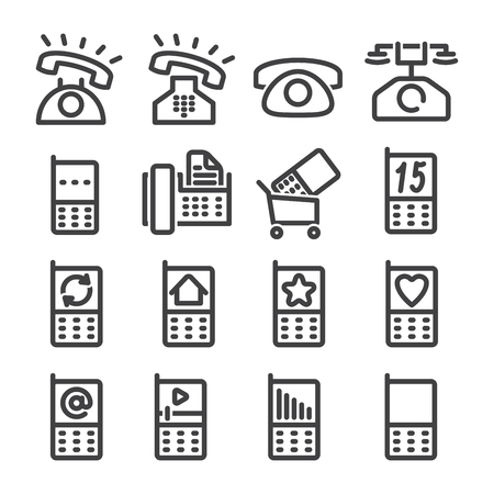 Set phone icon on white background.  Vector