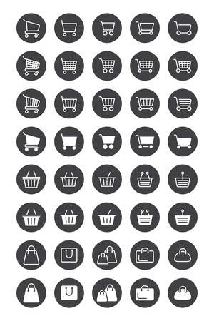 Shopping basket icons for web design.