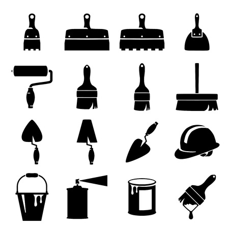 paint brush: Set of icons of tools on white background