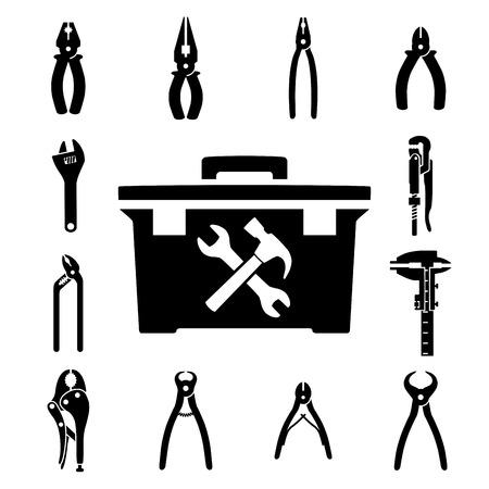 alicates: Conjunto de iconos de herramientas en el fondo blanco Vectores