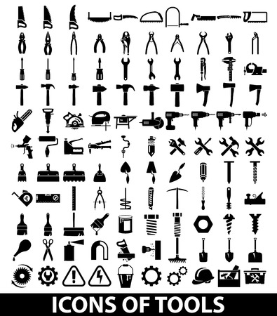 herramientas de mecánica: Conjunto de iconos de herramientas en el fondo blanco Vectores
