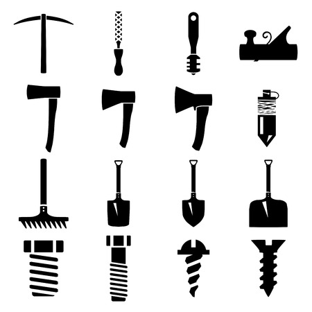 pick axe: Set of icons of tools on white background
