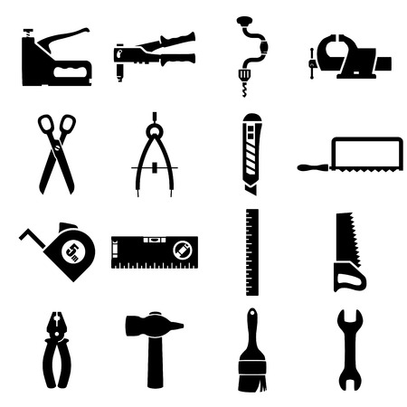 staple gun: Set of icons of tools on white background