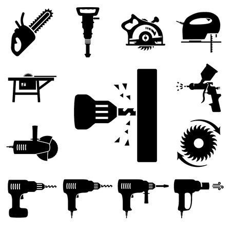 presslufthammer: Set von Icons von Werkzeugen auf weißem Hintergrund