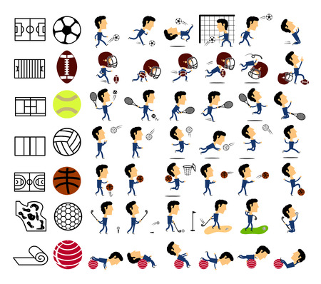 sports icons set on white background Vector