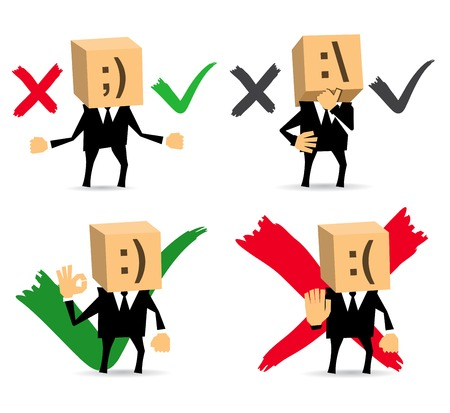 businessman in different situations. Yes, No, Do not Know. Vector