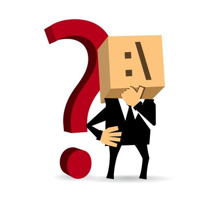 Businessman stands and ponders challenge against the background question mark Vector