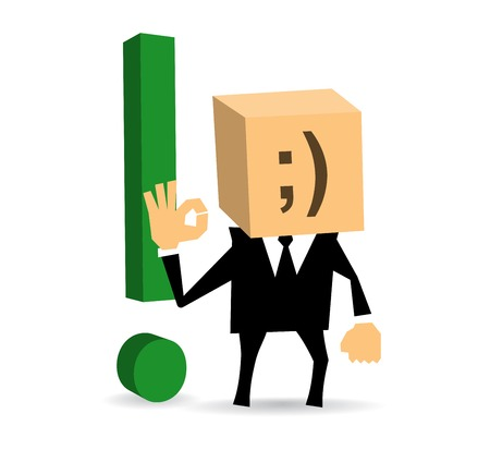 Businessman standing and shows that everything is OK