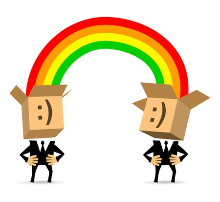 jointly: Two businessmen exchanging thoughts. Jointly solve the problem.