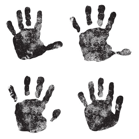 silhouette of childrens hands after paint. Vector Vector