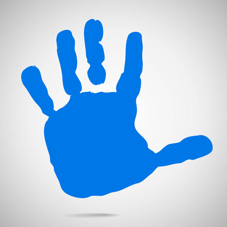 human hand: silhouette of childrens hands after paint. Vector Illustration