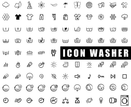 laundry care symbol: icon collection washing machines, washing, wringing, drying