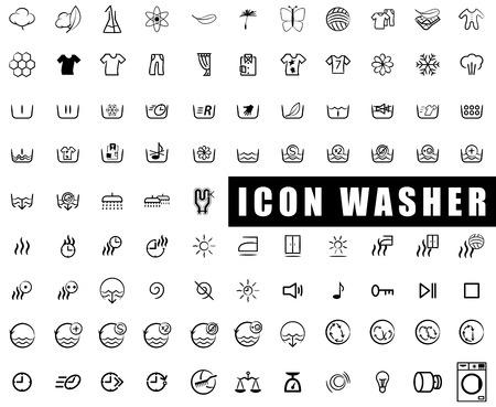 icon collection washing machines, washing, wringing, drying