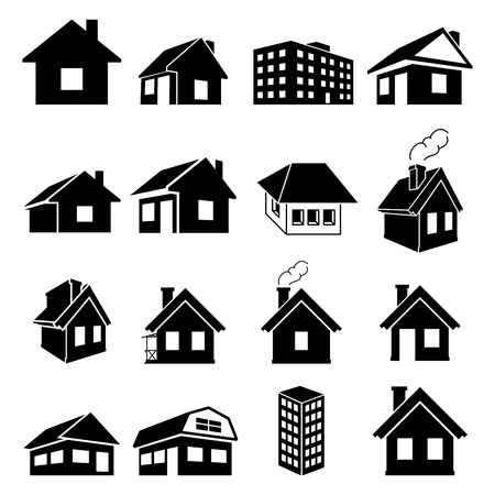 Houses vector icons set on white background Illusztráció