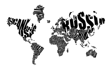 abstract world: World map made ??up of the names of countries