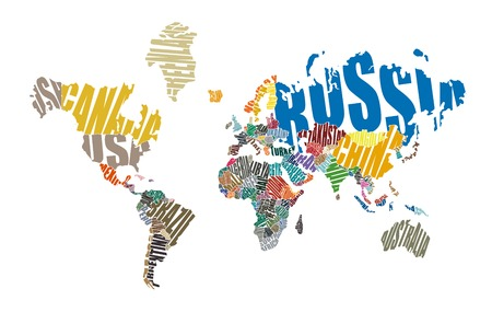World map made ??up of the names of countries