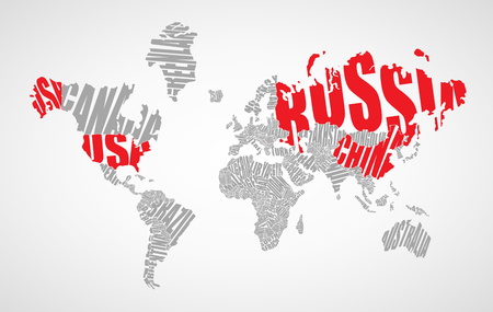 World map made ??up of the names of countries Vector