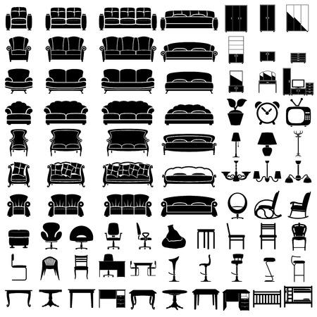 meubles jeu d'icônes sur fond blanc