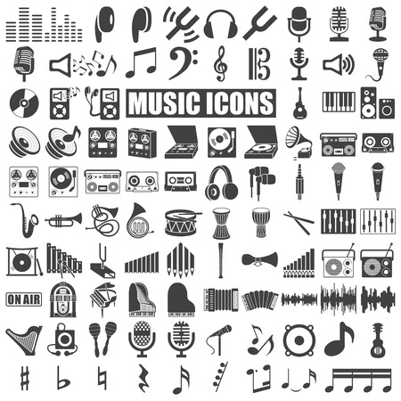 음악 아이콘은 흰색 배경에 설정합니다. 벡터