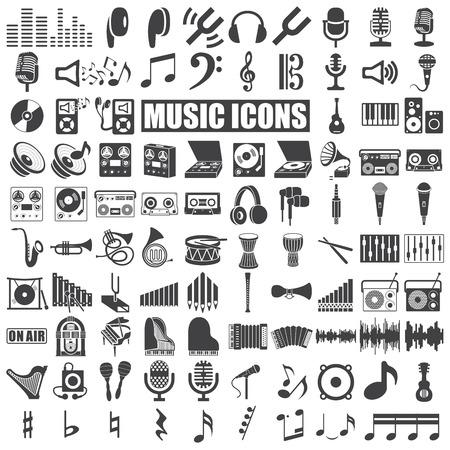 microfono de radio: iconos de la música fijaron en el fondo blanco. Vector Vectores