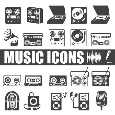 muziek pictogrammen instellen op een witte achtergrond. Vector Illustratie