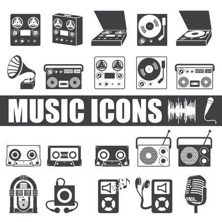 music icons set on white background.