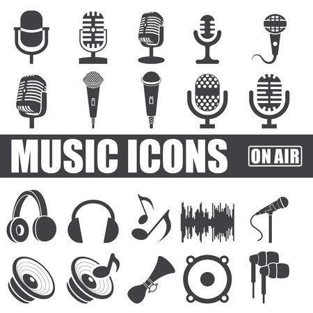 music icons set on white background.