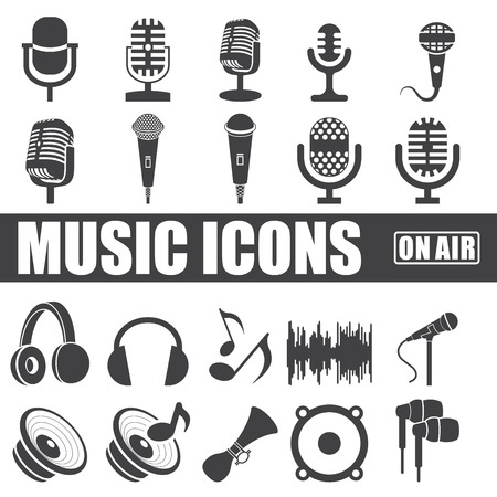 microfono antiguo: iconos de la música fijaron en el fondo blanco.
