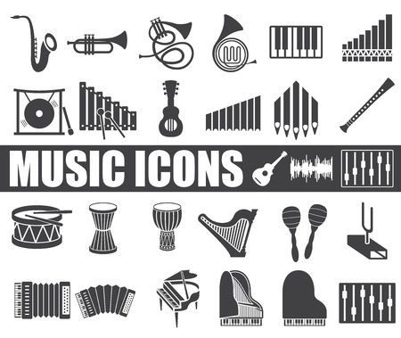 guitar amplifier: music icons set on white background.