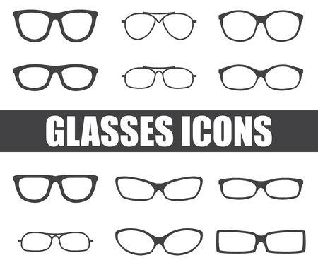 wayfarer: glasses icons on white background. Vector illustration