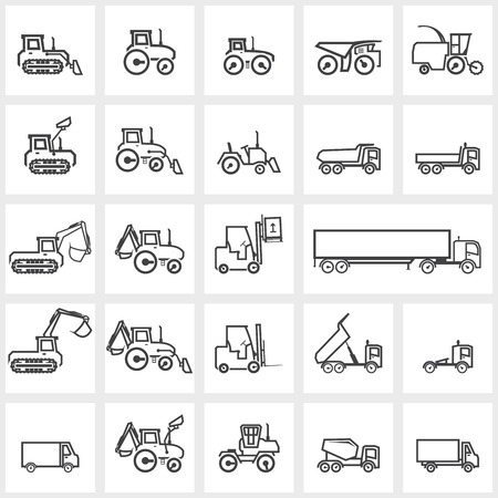 Vector black icon set cars and tractors Vector