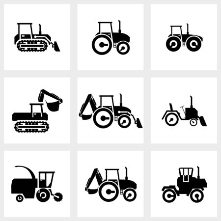 agrimotor: black icon set kombain and tractors Stock Photo