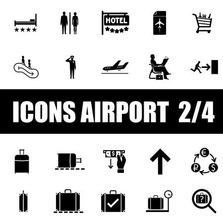 Set of icons airport on white background Vector