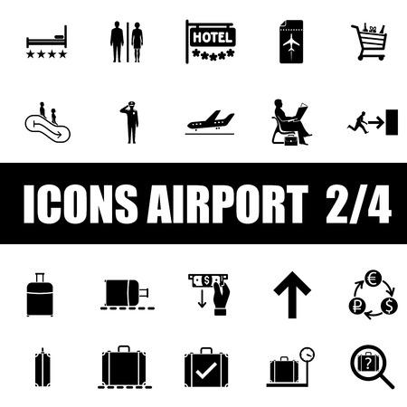 aeronautic: Set of icons airport on white background