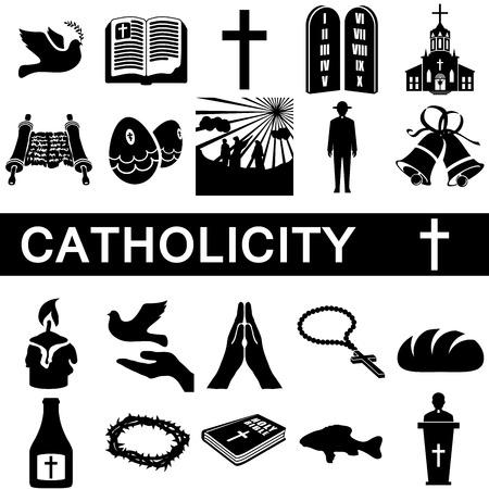 comunion: Colecci�n de los iconos de la catolicidad en el fondo blanco